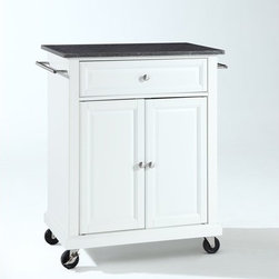 "Crosley - Kitchen Cart with Granite Top - This portable kitchen cart is designed for longevity. Panel doors and drawer front provide the ultimate in style to dress up your kitchen. The deep drawer is great for anything from utensils to storage containers. Behind the two doors, you will find an abundance of storage space for things that you prefer to be out of sight. The heavy duty casters provide the ultimate in mobility. When the cabinet is where you want it, simply engage the locking casters to prevent movement. Style, function, and quality make this portable kitchen cart a wise addition to your home. Features: -Solid black granite top.-Two towel bars.-Beautiful raised panel doors.-Two locking casters for stability.-Distressed: No.-Product Type: Compact kitchen cart.-Counter Finish: Granite.-Powder Coated Finish: No.-Gloss Finish: No.-Base Material: Hardwood and veneers.-Hardware Material: Steel.-Solid Wood Construction: No.-Exterior Shelves: No.-Drawers Included: Yes -Number of Drawers: 1.-Push Through Drawer: No.-Dovetail Joints: No.-Drawer Dividers: No.-Drawer Handle Design: Knob.-Silverware Tray : No..-Cabinets Included: Yes -Number of Cabinets : 1.-Double Sided Cabinet: No.-Number of Interior Shelves: 1.-Adjustable Interior Shelves: Yes.-Number of Doors: 2.-Magnetic Door Catches: Yes.-Locking Doors: No.-Door Handle Design: Knob..-Towel Rack: Yes -Removable Towel Rack: No..-Pot Rack: No.-Spice Rack: No.-Cutting Board: No.-Drop Leaf: No.-Drain Groove: No.-Trash Bin Compartment: No.-Stools Included: No.-Casters: Yes -Locking Casters: Yes.-Removable Casters: No..-Wine Rack: No.-Stemware Rack: No.-Cart Handles: No.-Finished Back: Yes.-Swatch Available: No.-Commercial Use: No.-Recycled Content: No.-Eco-Friendly: No.-Product Care: Use a soft clean cloth that will not scratch the surface when dusting. Use of furniture polish is not necessary. Should you choose to use a furniture polish, test in an inconspicuous area first. Use of solvents of any kind could damage your furniture's finish. To clean, simply use a soft cloth moistened with lukewarm water, then buff with a dry soft clean cloth..-Hardware Finish (Base Finish: Black): Brushed nickel.-Hardware Finish (Base Finish: Classic Cherry): Antique brass.-Hardware Finish (Base Finish: Vintage Mahogany): Antique brass.-Hardware Finish (Base Finish: White): Brushed nickel.Specifications: -ISTA 3A Certified: Yes.Dimensions: -Overall Product Weight: 82.2 lbs.-Overall Height - Top to Bottom: 36"".-Overall Width - Side to Side: 28.25"".-Overall Depth - Front to Back: 18"".-Height Without Casters: 32"".-Countertop Thickness: 1"".-Countertop Width - Side to Side: 28.25"".-Countertop Depth - Front to Back: 18"".-Shelving: -Shelf Width - Side to Side: 22.5"".-Shelf Depth - Front to Back: 16.5""..-Drawer: -Drawer Interior Height - Top to Bottom: 5.5"".-Drawer Interior Width - Side to Side: 22.5""..-Cabinet: -Cabinet Interior Height - Top to Bottom: 22"".-Cabinet Interior Width - Side to Side: 22.5"".-Cabinet Interior Depth - Front to Back: 16.5""..Assembly: -Assembly Required: Yes.-Tools Needed: Screwdriver (not included) and allen wrench (included).-Additional Parts Required: No.Warranty: -Product Warranty: 90 day limited warranty."
