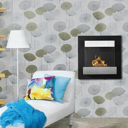 Melina Wall Mount Bio Ethanol Fireplace - The Melina Fireplace has a protective shield to cover the flame. Using Bio-Ethanol Fuel, this fireplace is safe for you and your environment.