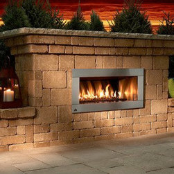 Contemporary Stone Outdoor Fireplace Kit - Equipped with a gas-burning fireplace the Contemporary Stone Outdoor Fireplace Kit also includes an optional hearth. -Mantels Direct