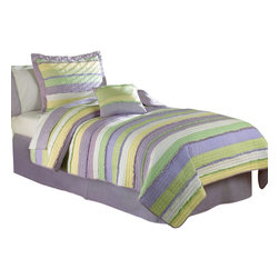 Pem America - Annas Ruffle Purple Full / Queen Quilt with 2 Pillow Shams - Hand crafted horizontal stripes floral prints in purple and yellow with ruffle highlights. Hand crafted set includes 1 full/queen quilt (86x86 inches) and 2 standard shams (20x26 inches). Face cloth is prewashed 100% natural cotton.  Fill is 94% cotton / 6% other fibers. Hand crafted with embroidery. Machine Washable.