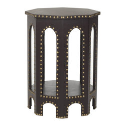 Safavieh - Nara End Table - Charcoal - Inspired by the timeless, romantic feeling of gothic arches, the charcoal grey Nara Side Stool offers a contemporary spin on classic style. Covered in charcoal grey faux leather of sturdy polyurethane with iron nailhead detail, its six sides blend geometric form with a fresh, solid palette.