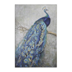 "Uttermost - ""Proud Papa"" Hand-Painted Art - This peacock has every right to be proud. If you had those tail feathers, you'd be pretty proud too. Hang this hand-painted art on your wall where everyone can see the vivid shades of turquoise mixed with greens and yellows and strut your stuff."