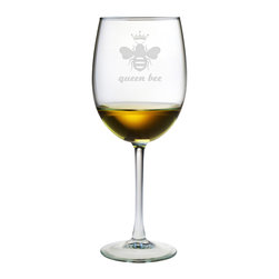 Susquehanna Glass - Queen Bee All Purpose Wine Glass, 19oz, S/4 - Each 19 ounce wine glass is sand etched with a bee-themed design. Dishwasher safe. Sold as a set of four. Made and decorated in the USA.
