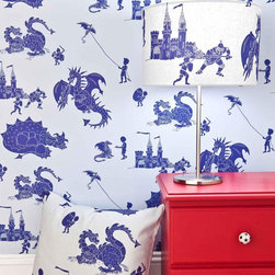 Blue Dragon Wallpaper For Children - Finally, knights and dragons on a wallpaper! It is adorable and makes quite the statement in a boy's room.