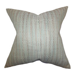 "The Pillow Collection - Zebulun Woven Pillow Aqua 18"" x 18"" - Simple and sleek, this throw pillow creates a polish decor look. This accent pillow comes with a woven design, which features an interlace of aqua, brown and gray hues. This square pillow pairs well with contemporary and traditional furniture pieces. Complete your living space's style by tossing a few pieces of this 18"" pillow. Made of 64% rayon and 36% polyester material."
