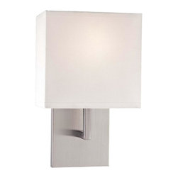 Minka George Kovacs - Minka George Kovacs Decorative Wall Sconces 1-Light Brushed Nickel Wall Light - This 1-Light Wall Light has a Brushed Nickel finish and a shade -White Fabric finish. It is ADA Compliant.