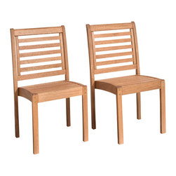 International Home Miami - Amazonia Eucalyptus Stackable Chair Set w/out Arms - Eucalyptus Stackable Chair Set without Arms belongs to Amazonia Collection by International Home Miami Great Quality, elegant design patio set, made of solid eucalyptus wood. FSC (Forest Stewardship Council) certified. Enjoy your patio with style with these great sets from our Amazonia outdoor collection.  Chair (2)