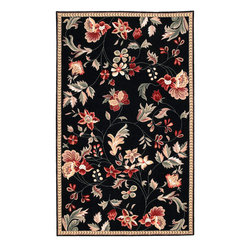 "Surya - Surya Flor FLO-8907 (Black, Multi) 2'3"" x 8' Rug - Great floral Designs in warm colors make Flor a collection for people who like to add some casual flair to their decor. Hand hooked in China from 100% Wool, this collection is a beautiful addition to any home decor."