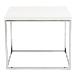 Eurostyle - Teresa Side Table-Wht/Ss - What's not to love about this elegant side table? The lacquered top sits on a chromed steel base that's easy to clean and beautiful to look at. The quiet presence of the design makes this table perfect for any room in the house.