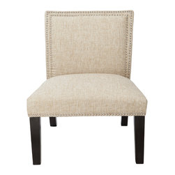 "4D Concepts - 4D Concepts Burnett Slipper Chair in Polyester Blend Natural ""Sand"" Woven - The dual row of silver colored nailheads that outline the back of the oversized chair resonates elegance that will finish off any room in the home.  This chair will add distinctive style to your home decor with this light Sand colored woven fabric.   The additional touch of finshing the bottom edge of the chair with the silver nailheads and finishing the legs in a deep espresso make this chair perfect for that special room in the home.  Assemble required."