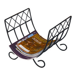 J&J Wire - 12 in. Magazine Rack - Magazines not included. Scrolled legs. Durable construction. Welded fabrication. Versatile design. Made from durable wrought iron. Black powder coated finish. Made in USA. No assembly required. 12 in. W x 15 in. D x 11 in. H (5 lbs.)This elegant design offers function and flexibility, it can store enough wood to keep a warm fire going or be the answer to holding a multitude of your favorite reading materials.  It features sturdy wrought iron construction with scrolled legs that prevent floor damage.  This product is cured under heat to produce a durable black finish.