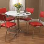 TMS - Retro 5 Piece Dining Set - Dining Set Features: -Vinyl fabric padded with 100% polyurethane fill.-Chrome legs.-Retro style dining set includes table and 4 chairs.-Constructed from chrome frame, medium density fiberboard, PVC, vinyl and polyurethane fill.-Retro collection.-Collection: Retro.-Distressed: No.Dimensions: -Table Dimensions: 30'' H x 38'' W x 38'' D.-Chair Dimensions: 33.5'' H x 16.5'' W x 16'' D.