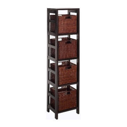 Winsome Wood - Leo Storage Shelf with Basket, Set of 5 - With its classic, sturdy design, this elegant shelving unit fulfills both style and functional requirements. Its 4 sections hold the Espresso Small Storage Basket perfectly.