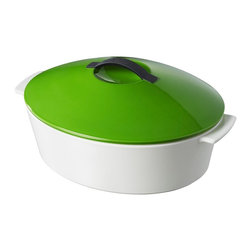 Revol - Revol Revolution Line Oval Cocotte with Lid, Lime Green - Free range cooking: You're free to use this revolutionary new cocotte on virtually any heat source, including stovetop gas, ceramic, glass, electric, halogen and induction … and of course, any kind of oven. All of which greatly expands your sphere of culinary potential.