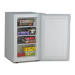 "Avanti - 2.8 cu.ft. upright freezer - 2.8 cu.ft. capacity, 3 fixed metal shelves, Recessed integrated door handle, Space saving flush back design, Rear access temperature control, reversible door (left or right swing), Adjustable front leveling legs, unit dimensions: 33.25"" H x 19.25"" W x 21.5"" D"