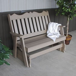 A & L Furniture Recycled Plastic 4 ft. Royal English Glider Bench - Get ready for the glide of your life. The provides you with a picturesque place to perch while gliding ever so smoothly back and forth. This lovely bench will add interest to your porch or garden with its decoratively scalloped top and traditional vertical back slats. Choose from an array of colors that will accent your space perfectly. Made of durable and weather-resistant poly material this is a yearlong accent piece that will not crack from the cold warp from the sun or rot from the rain. About A and L Furniture:For fine-quality furniture you can't find much better than Amish-made pieces. Using hydraulic- and pneumatic-powered woodworking tools and wood hand-selected for each furniture piece Amish craftsmen pay great attention to each detail resulting in beautiful and timeless furniture. Amish woodworkers select each piece of wood for its grain and other individual characteristics and these characteristics are highlighted so that no two pieces of furniture are ever identical. Made in the heart of Pennsylvania by these dedicated workers each piece of A and L's furniture is sure to become a treasured heirloom for your family. Please note this product does not ship to Pennsylvania.