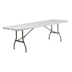 "Flash Furniture - 30''W x 96''L Plastic Bi-Folding Table - Commercial grade folding table that is designed to withstand the test of time! Flash Furniture's 30""W x 96""L Folding Table features a durable stain resistant blow molded top and sturdy frame. The blow molded top is super low maintenance and cleans easily. This 8 ft. table folds in half and legs lock in place in a SNAP with the leg locking system for easy set-ups. This table can be used as a temporary seating solution or set-up in a permanent location for everyday use.; Commercial Grade Folding Table; 661 lb. Static Load Capacity; 1.75"" Thick Granite White Table Top; Impact and Stain Resistant Plastic Top; Impact and Stain Resistant Plastic Top; Bi-fold feature for storing in half the space; Folds into a 4' x 3' Rectangle; Gray Powder Coated Wishbone Legs; Non-Marring Foot Caps; Made of Eco-Friendly Materials; High Quality Construction; Constructed for Indoor and Outdoor Use; Weight: 46 lbs; Overall Dimensions: 30""W x 96""D x 29""H"