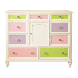 Pulaski - Pawsitively Yours Bureau w 9 Drawers - Includes four interchangeable panels. Door with exchangeable panel. Adjustable shelf. Pull out storage tray. English dovetail drawer construction adds stability and durability. Full extension ball bearing roller guides and stops provide easy access for small hands. Prevent injury from drawers tipping and falling from case. Exclusive customizable hardware knobs. Dust bottom. Vase shaped bun feet. Vanilla finish. 50 in. W x 21 in. D x 42 in. H (213 lbs.)Create a sense of wonder and imagination for your kids with the Pulaski Pawsitively Yours Bedroom Collection. This amazing collection was designed by kids for kids with a bit of magic from the Build a Bear Workshop. Build-A-Bear Workshop HOME is transitional in design, creating a lasting look that will benefit your child through their teenage years.