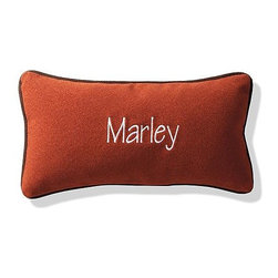 """Frontgate - Pillow for Reversible Plaid Bolster Bed Dog Bed - Overstuffed with furniture-grade polyfill. Surrounded by a plush outer bolster that provides your pet with an added sense of security. Lower-profile front of 5"""" gives senior or arthritic dogs easy access. Red/Denim cover is 50% cotton twill and 50% polyester; Navy/brick cover is a poly/fleece blend. Bolster removes so cover and bottom cushion can be machine washed. This cozy and versatile pet bed features a classic plaid pattern on one side and a solid-colored polyester fabric on the reverse side – so it's like getting two stylish beds in one. The optional bone pillow (sold separately) can be personalized with your pet's name.. . . . Coordinating, personalized accent pillow sold separately. Please note, personalized products are nonreturnable."""