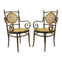Consigned Antique Italian Bentwood Chairs, Pair - Beautiful antique bentwood armchairs. Caned seats and backs. Marked with unidentified Italian marks.