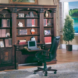 Parker House - 4 Pc Library Desk Set - Huntington - This Huntington set brings traditional styling to smaller spaces. Four pieces are reminiscent of classic home library settings with two flanking bookcase towers. At the center, a desk and hutch bring the look together with richly detailed accents and top molding. Set includes Desk, Hutch, and (2) 21 in. Open Top Bookcase. Solid Poplar and Maple veneers. Multi-step Chestnut with accent shading and highlights, hand distressing, medium sheen top coat. Includes Power Center with 3 A/C outlets, phone jack & high speed connector. Drop face drawer that can be used for lap top or keyboard. Chair not included. Library Desk: 40 1/2 in. W x 21 in. D x 80 1/4 in. H. 21 in. Open Top Bookcase: 21 1/8 in. W x 17 3/4 in. D x 80 1/4 in. H. Overall Dimensions: 40 1/2 in. W x 21 in. D x 80 1/4 in. H
