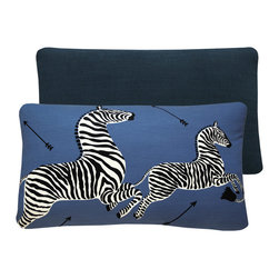 Chloe and Olive - Blue Zebra Scalamandre Throw Pillow in 16x26 Lumbar, 16x26 Right Facing - This iconic, prancing print by Scalamandre will bring vivacity and glamour to a couch, bed or chair. With a stunning pair of zebras on each throw pillow, the exquisite combination of blue, black and white will be a favorite for many seasons to enjoy. Scalamandre is a well known manufacturer of the finest quality fabrics for over 80 years.