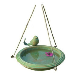 Ancient Graffiti - Bird Bath Teal Round Hanging - Teal colored, round, hanging ceramic birdbath decorated with matching metal-tailed bird. Sturdy metal hanger that can be hung from a tree or shepherd's hook.