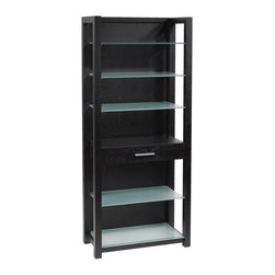 Euro Style - Euro Style Ballard Shelving Unit // Wenge/Silver Printed Glass - The tempered glass surfaces of the Ballard Collection make light of any work situation. Silver printed tops and shelves are sturdy and smudge-proof. The perfect platform for your next BIG idea.