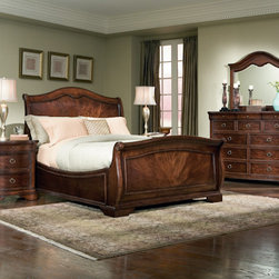Legacy Classic Furniture - Sleigh Bedroom Set - Transform your traditional bedroom into a first-class suite with the decadent Sleigh Bedroom Set by Legacy Classic Furniture. This incredible collection consists of a King or Queen size sleigh bed, chest, 2 nightstands, and a dresser with mirror. All are saturated with a lovey mahogany finish that brings warmth and richness to your space. The sleigh bed has high sideboards and a gracefully arched head and footboard; all of which will keep you wrapped up in the cozy style of this wonderful set.