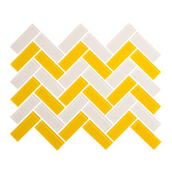 White and Yellow Herringbone Tile - 1 sf A herringbone mix of white and yellow glossy glass tiles. A perfect mix for floors or wall, pool or hearth.