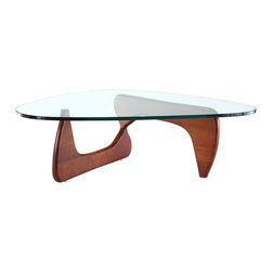Isamu Noguchi Coffee Table with Cherry Wood Base - This Isamu Noguchi style coffee table is a masterpiece of modern design. The design is both ethereal and practical: an elegant, sturdy and durable table. This balance of sculptural form and everyday function has made the Noguchi table an understated and beautiful element in homes and offices since its introduction in 1948.