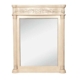 Jeffrey Alexander - Jeffrey Alexander Antique Ornate Mirror 33-11/16 Inch x 3-1/2 Inch - 33 11/16 Inch x 42 Inch Antique white mirror with hand carved details and beveled glass Finished in Antique White (finish applied by hand)  Coordinating Vanities: VAN011 VAN011 T