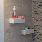 """Bathroom Niche & Shelf Store - Customer supplied photo of installation of my modern square shower shelves in 12"""".  Thank you Pete."""