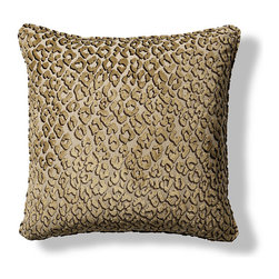 Frontgate - Bengal Decorative Pillow - Masterfully sewn of a unique blend of bamboo, polyester, flax and viscose. Includes a 100% goosedown feather insert. Hidden zipper. Because this item is made to order, please allow 4 weeks for delivery. Made in the USA of imported fabrics. Add a subtle touch of the exotic to a chair or bed with our Bengal Pillow. Sewn of soft velvet with a leopard spot pattern, each pillow includes a plush feather down insert.  .  .  . .  .