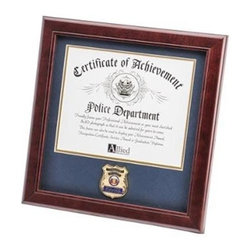 Flags Connections - Police Department Medallion Certificate Frame - Police Department Medallion Certificate Frame is designed to hold a single 8-Inch by 10-Inch document, certificate, award, diploma or picture. This picture is set into a double layer of Dark Blue matting with Gold trim. The frame is made from Mahogany colored wood, and the outside dimensions measure 14-Inches by 14-Inches. The Police Department Medallion 8-Inch by 10-Inch Certificate Frame is perfect for proudly displaying the picture of an individual who is a member of the Police Force.