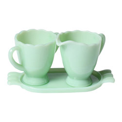 Mosser Glass, USA - Creamer & Sugar with Tray,  Jadeite - Reach for these sweet holders to pair with your perfect cup of morning coffee.
