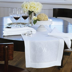 """Monogrammed Hemstitched Linen Table Runner, White 