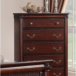 Elements International Group - Regent 5 Drawer Chest - Deep Rich Cherry Multicolor - RG600CH - Shop for Dressers from Hayneedle.com! As majestic as it is convenient the Regent 5 Drawer Chest - Deep Rich Cherry is a beautiful addition to your bedroom. This chest offers impeccable attention to detail. It's well-crafted of solid hardwoods with cherry and zebra wood veneers drenched in a deep rich cherry finish applied with a seven-step process. Details include zebra wood pilasters rosettes adorning the four face corners and intricate molding on the base rail. This chest includes five generous drawers. The top drawer is felt lined to protect your finer things and the remaining four drawers provide spacious storage. Sleek antique brass knobs and pulls adorn the drawer fronts and the ball bearing metal drawer glides ensure smooth drawer operation. About Elements Fine Home Furnishings Inc.Committed to bringing excellent home furnishings to the masses through affordable prices Elements marries exceptional design and exemplary craftsmanship to create affordable functional pieces. High-end materials and technique are supported by a six-point quality control inspection to ensure consistent reliability.