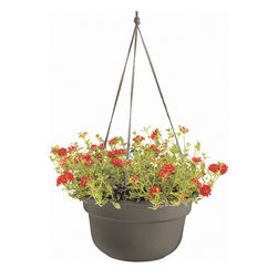 Bloem Living - Peppercorn Dura Cotta Hanging Basket - Inspired by classic clay planters, this hanging basket is made from durable polypropylene to offer the same traditional look without the heavy weight or risk of breakage.   Polypropylene Made in the USA