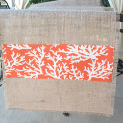 Burlap Table Runner With Orange Coral by Bouteille Chic - Easy, breezy, beachy — that's what this burlap coral table runner is all about.