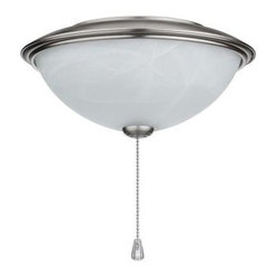 NuTone Alabaster Glass Contemporary Bowl Ceiling Fan Light Kit with Brushed Stee