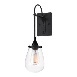 Sonneman - Chelsea One-Light - Satin Black with Clear Glass - Wall Sconce - - Suspended from its black silk covered cord and held by its industrial socket, Chelsea?s historic carbon filament lamp is encapsulated in voluptuous glass form that echoes its classic shape. The Chelsea Wall Sconce features a metal body with a black satin finish and a clear glass shade. Provides ambient, diffused lighting.  - Shade Material: Glass Sonneman - 4290.25