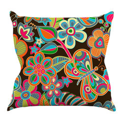 """Kess InHouse - Julia Grifol """"My Butterflies & Flowers"""" Throw Pillow (18"""" x 18"""") - Rest among the art you love. Transform your hang out room into a hip gallery, that's also comfortable. With this pillow you can create an environment that reflects your unique style. It's amazing what a throw pillow can do to complete a room. (Kess InHouse is not responsible for pillow fighting that may occur as the result of creative stimulation)."""
