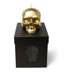 D. & L. Medium Gold Sculptured Skull Candle