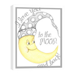 """Doodlefish - To The Moon - The timeless phrase """"I love you to the moon and back"""" frames this precious moon illustration. The 16"""" x 20"""" stretched canvas has a crisp white background. The dotted night cap and text, as well as the artwork border, are a neutral shade of grey. The canvas is gallery wrapped and ready to frame. Original artwork is by Regina Nouvel and is produced in the USA."""