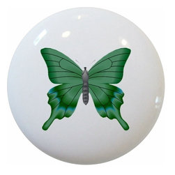Carolina Hardware and Decor, LLC - Green Butterfly Ceramic Knob - New 1 1/2 inch ceramic cabinet, drawer, or furniture knob with mounting hardware included. Also works great in a bathroom or on bi-fold closet doors (may require longer screws). Item can be wiped clean with a soft damp cloth. Great addition and nice finishing touch to any room!