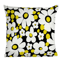 DENY Designs - DENY Designs Khristian A Howell Cape Cod 4 Throw Pillow - Funky-fresh flowers for your favorite couch. Create a lively and fun space with the DENY Designs Khristian A Howell Cape Cod 4 Throw Pillow, featuring bright white flowers and yellow dots against a black background. Each fade-resistant pillow uses the company's special dye printing process for long-lasting color and comfort. Freshen up your home while supporting art with DENY, who works with artists and art communities around the world to create custom home accessories and furnishings. The concealed zipper makes it easy to remove and clean the woven polyester cover so go ahead and use it every day.Custom printed to orderFade resistantWoven polyester coverConcealed zipper6-color dye processKhristian A Howell collection