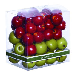 Woodland Imports - Gift Box of Small Apples Red Green Colors Home Kitchen Accent Decor 47747 - Thoughtful clear gift box of small decorative apples in shiny red and green colors home kitchen accent decor