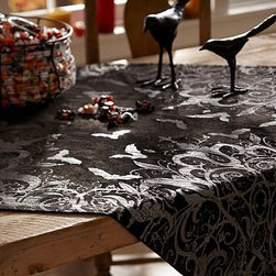 "Shiny Spooky Table Throw, 50"" Sq. - Flying birds, and flowers and leaves, give this enchanting throw a subtle ombre effect. 50"" square Woven of a rayon/cotton blend. Hand wash. Imported. Catalog / Internet only."