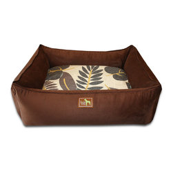 """Luca for Dogs - Large Chocolate Lounge Bed, Falling Leaves - This beautifully designed bed allows your dog to stretch out and stay ultra cozy. Our signature """"easy-wash"""" sheet covers make washing easy and quick. Overstuffed with 100% recycled fiber. Nylon liner protects the inner pillow. 100% washable."""